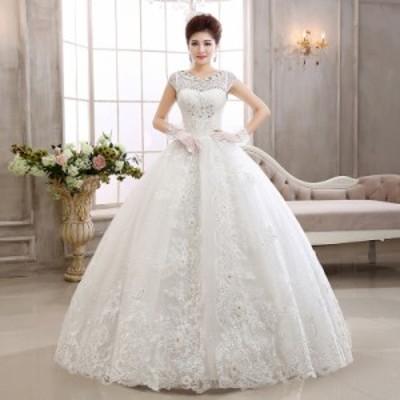 ウエディングドレス プリンセス 結婚式 披露宴 花嫁 ブライダル ブライズメイド ロング レース ゴージャス 純白