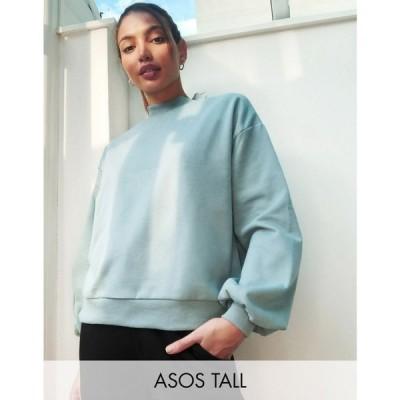 エイソス ASOS Tall レディース スウェット・トレーナー Asos Design Tall Exclusive Lounge Co-Ord Oversized Deep Rib Collar Sweat In Dusty Blue
