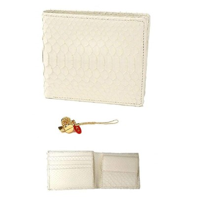 白蛇 金運 アップ 二つ折り財布 高級 錦蛇 表裏 無双 札入 本革 パイソン レザー 日本製 (打ち出の小槌)