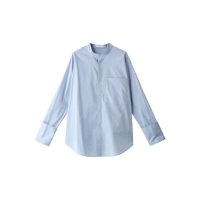 JET ジェット 【JET NEWYORK】【ウォッシャブル】コットンスタンドカラーシャツ レディース ブルー 04(M)