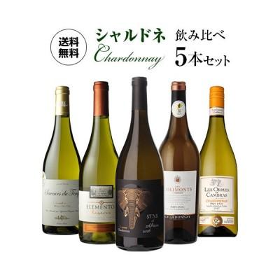 ワインセット 5本 飲み比べ 詰め合わせ 白 送料無料 ぶどう品種で楽しむ シャルドネ ワイン5本セット 11弾