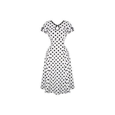 バーンド ドレス ワンピース レディース ホワイト Polka Dot 1940s Wartime Victory ビンテージ ピンナップ パーティ Tea ドレス