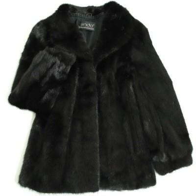美品▼JINDO SAGA MINK サガミンク 本毛皮コート ブラック 毛質艶やか・柔らか◎