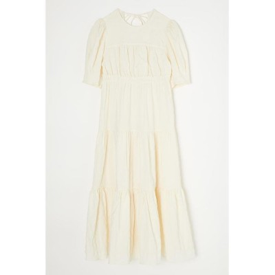【マウジー】 TUCKED SLEEVE TIERED ドレス レディース ホワイト 2 MOUSSY