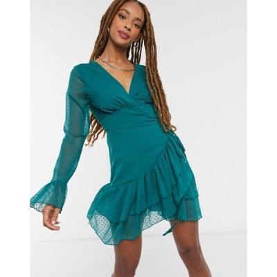 エイソス レディース ワンピース トップス ASOS DESIGN dobby mini wrap dress with fluted sleeve in forest green Forest green