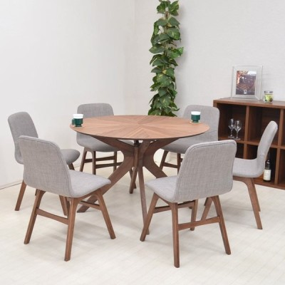 ダイニングテーブルセット 丸テーブル バースト 7点 幅110cm クロス脚 sbkt110-7-pani339wn ウォールナット色 LGE色 アウトレット 組立品 32s-7k so