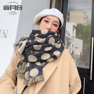 2020新しい冬の新しい暖かい長い水玉スカーフ模倣カシミアトレンド日本と韓国の甘い水玉スカーフ