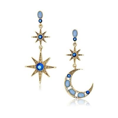 [ベッツィ・ジョンソン]Betsey Johnson Mystic Baroque Queens Blue and Gold Moon and Star Drop Earrings ジュエリー [並行輸入品]【並