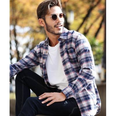 【ジギーズショップ】 コットンネルチェックシャツ / チェックシャツ メンズ ネルシャツ シャツ 長袖シャツ メンズ オフホワイト XXL JIGGYS SHOP