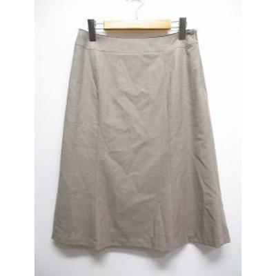 【中古】ニューヨーカー NEWYORKER 美品 台形 フレア スカート 11 茶 ブラウン ひざ丈 裏地付き レディース