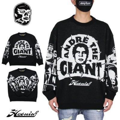 ハオミン HAOMING ニット セーター メンズ レディース 大きいサイズ ブランド おしゃれ ANDRE THE GIANT HAOMING KNIT 210-01