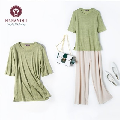 HANAMORI シルク 半そでカットソー 杢シリーズ シルク100%