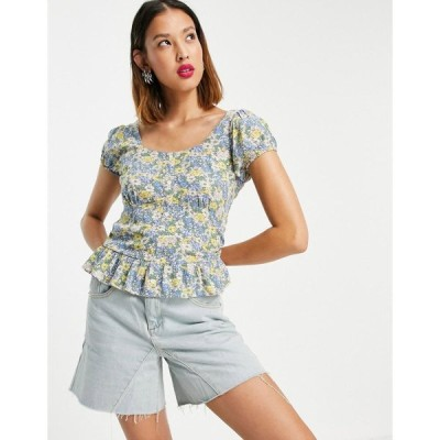 オンリー Only レディース ブラウス・シャツ トップス blouse with pephem in blue ditsy floral フローラル