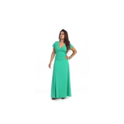 ファッション アクセサリー レディース ウェア ドレス ワンピース Women's Plus Size Short Sleeve Faux Wrap Maxi Dress