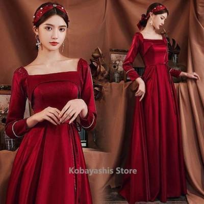 成人式ドレスワイン赤ロングドレス長袖ゲストドレス結婚式二次会ドレスサテンパーティードレス イブニングドレスAライン20代30代
