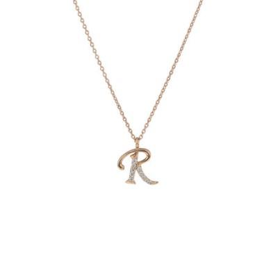 K18 ピンクゴールド ダイヤモンド イニシャル ネックレス(R)