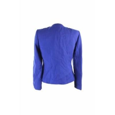 Tahari タハリ ファッション 衣類 Tahari Asl Petite Royal Blue Pleather Trim Zip Jacket 10P