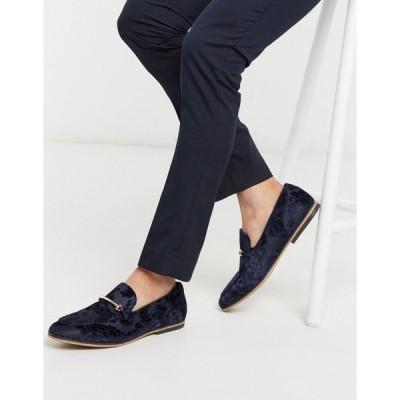 エイソス ローファー メンズ ASOS DESIGN loafers in navy burnout with floral design with snaffle エイソス ASOS