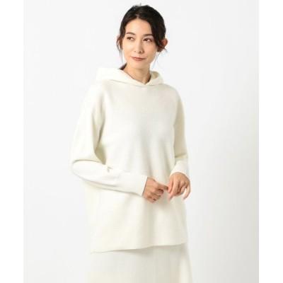 ICB/アイシービー Milled Wool ニットパーカー ホワイト系 S