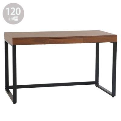 パソコンデスク 在宅ワーク 幅120cm 書斎 オーク材 デスク ブラウン 棚 収納 ウォールナット材 机 重厚感 男前 インテリア walnut desk W120 T-2314 BR