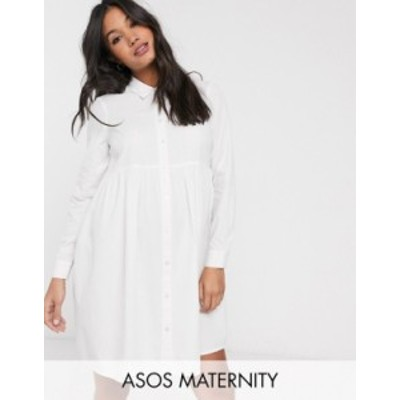 エイソス レディース ワンピース トップス ASOS DESIGN Maternity organic cotton mini smock shirt dress in white White