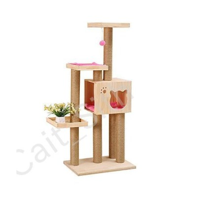 WYQWANLJX Pet Deluxe Multi Level Cat Tree,Play Towers Trees for Cats Climbing Frame Solid Wood Cat Supplies Cat Claw Board Cat Tree[並行