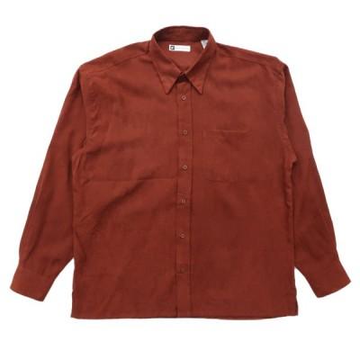 フェイクスウェード ボックスシャツ ボタンダウン 比翼 長袖 テラコッタ サイズ表記:L