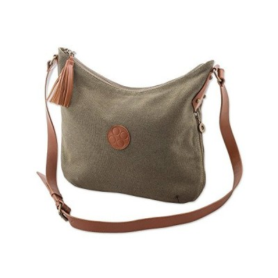 NOVICA Brown Cotton and Leather Accent Shoulder Bag, Clay Satisfaction'