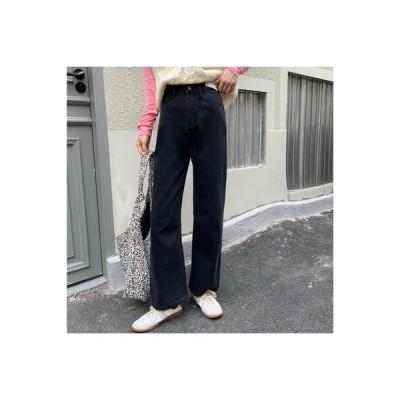 【送料無料】女性 ハイウエストのジーンズ 秋冬 ルース 着やせ ストレートジーンズ | 364331_A64372-7163894