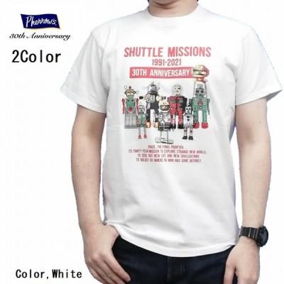 半袖Tシャツ TIN ROBOT PTボディ ホワイト ネイビー 21s-pt4 Pherrow's フェローズ アメカジ 30周年記念モデル