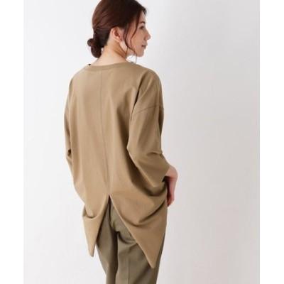 ◆【M-LL】空紡糸七分袖バックスリットプルオーバー