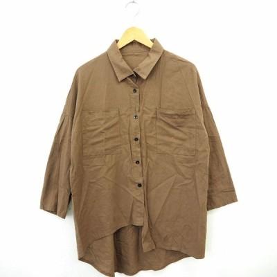 【中古】Kanei シャツ ブラウス 無地 シンプル ひざ 長袖 ブラウン 茶 /MT14 レディース 【ベクトル 古着】