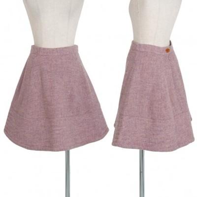 ヴィヴィアンウエストウッドVivienne Westwood 旧赤タグ ツイード台形スカート 薄紫40 【レディース】