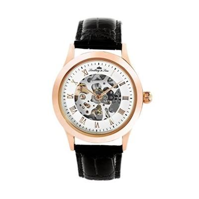 Lindberg & Sons - CHP196 - wrist watch for men - skeleton - automatic movement - analog display - black leather bracelet 並行輸入品