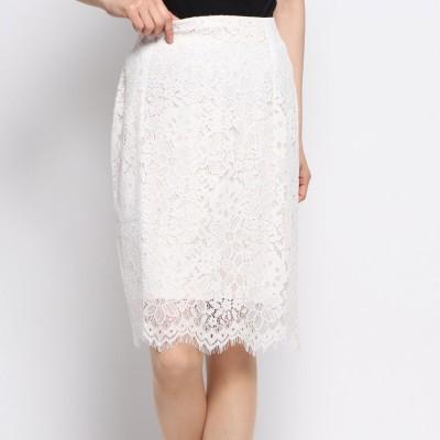 ラナン Ranan きれい見えレースタイトスカート (オフホワイト)