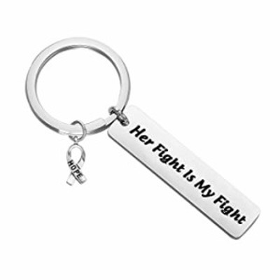 ENSIANTH Cancer Awareness Keychain Her Fight is My Fight Keychain Cancer Survivor Gift Cancer Fighter Gift (Cancer Fight Key)
