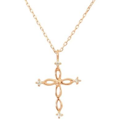 (JEWELRY SELECTION/ジュエリーセレクション)贅沢なオール18金ゴールド!K18ゴールド 天然ダイヤモンド ネックレス 選べる3カラー 【ツイストクロス/K18PG】/レディース K18PG