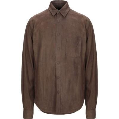スチュアート STEWART メンズ シャツ トップス solid color shirt Dark brown