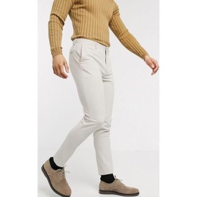 エイソス ASOS DESIGN メンズ スキニー・スリム ボトムス・パンツ smart super skinny trousers in light grey ベージュ