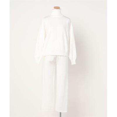 FRP / ハイネック バックV裾 ざっくりセーター + テーパードパンツ ニットセットアップ WOMEN トップス > アンサンブル