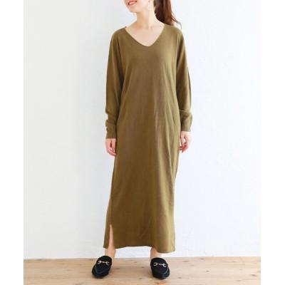 カシミヤタッチVネックロングニットワンピース (ワンピース)Dress