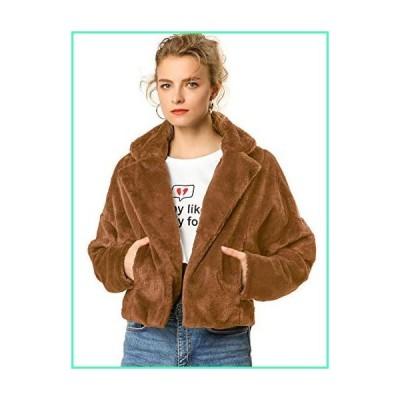 Allegra K Women's Autumn Winter Cropped Jacket Notch Lapel Faux Fur Fluffy Coat Caramel X-Small並行輸入品