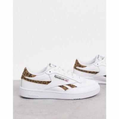 リーボック Reebok メンズ スニーカー シューズ・靴 Club C trainers with leopard suede vector and heel tab ホワイト