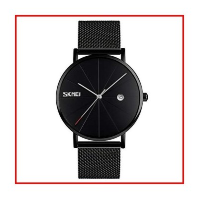 SKMEI Black Mens Watch Minimalist Simple Ultra Thin Stainless Steel Mesh Waterproof Fashion Casual Dress Quartz Analog Date Gifts Wrist Watc