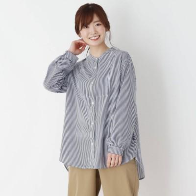 ピンクアドベ pink adobe 【M-3L】ビブ切り替えバンドカラーシャツ (ネイビーストライプ)