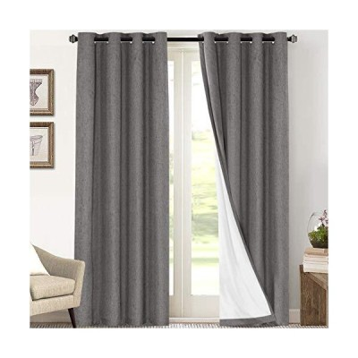 Primitive Textured Linen 100% Blackout Curtains for Bedroom/Living Room Energy Saving Window Treatment Curtain Drapes, Burlap Fabric with Wh