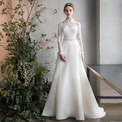 ウエディングドレス 二次会 aライン 安い 袖あり 結婚式 花嫁 白 大きいサイズ 海外挙式 パーティードレス 披露宴 ブライダル ロングドレス 演奏会