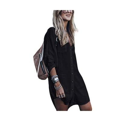 Bsubseach レディース 体型カバー 大きいサイズ 水着カバー ビーチウェア カジュアル ワンピースドレス 黒