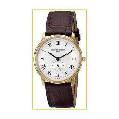 Frederique Constant Fc-235M4s5 Men's Slim Line Brown Genuine Leather Silver-Tone Dial Watch並行輸入品