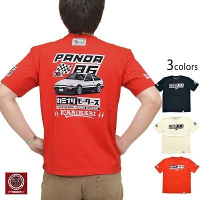 PANDA86半袖Tシャツ カミナリ KMT-201 雷 トヨタ AE86 トレノ 昭和 旧車 エフ商会 efu